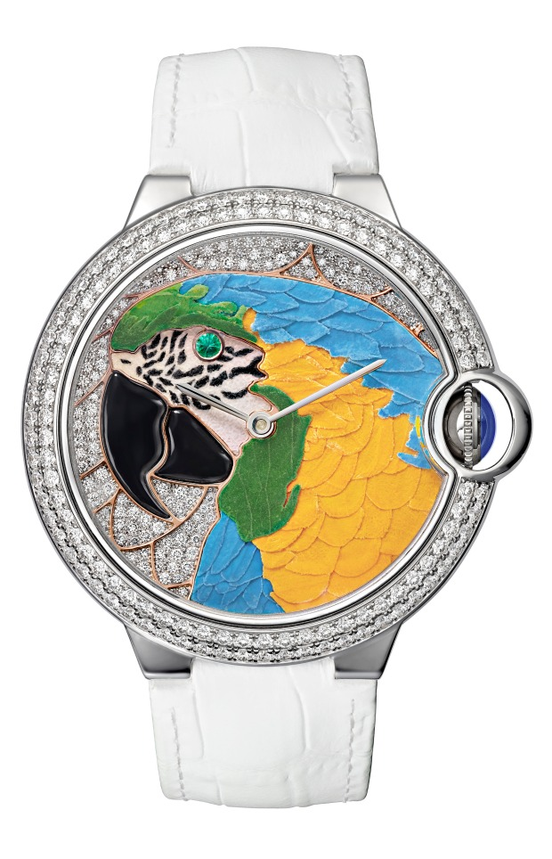 The final result: Cartier floral marquetry watch