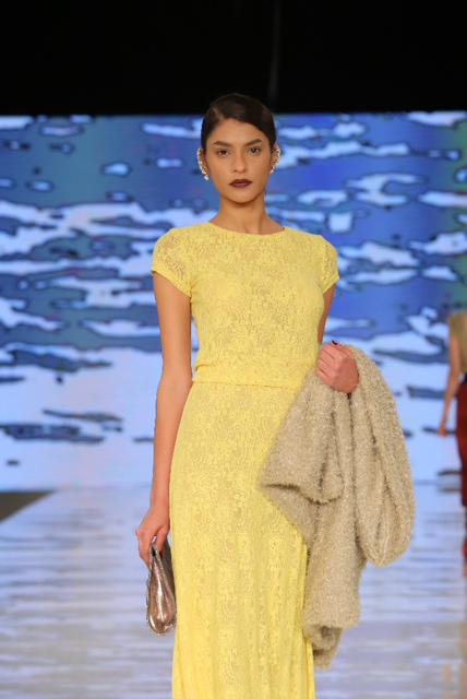 Gindi Fashion Week 2014 Dorin Franfurt Yellow Dress דורין פרנקפורט שבוע האופנה גינדי 2014