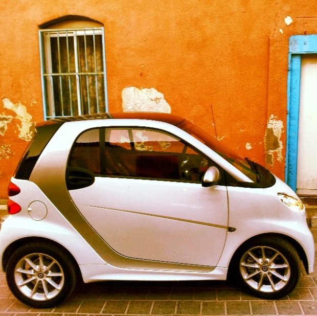 Smart Car in the streets of beautiful Neve Tzedek, Tel Aviv, TLV