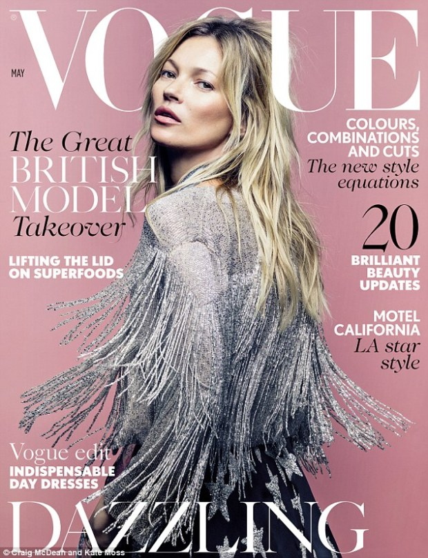 TopShop Kate Moss silver dress vogue cover